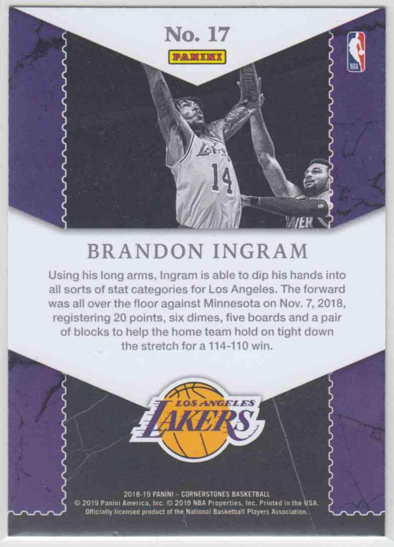 2018-19 Panini Cornerstones Unbreakables Brandon Ingram #17 card back image