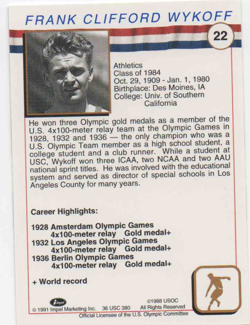 1991 Impel U.S. Olympic Hall Of Fame Frank Wykoff #22 card back image