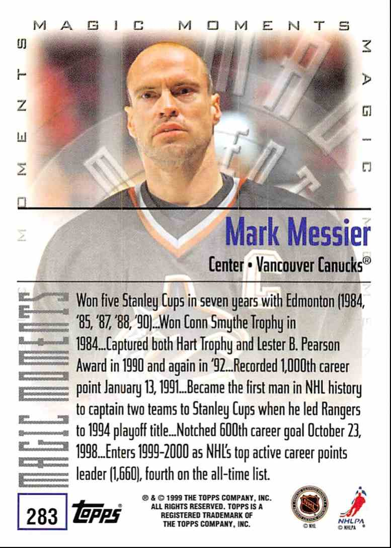 1999-00 Topps Mark Messier MM 2-Time Hart Trophy Winner #283D card back image