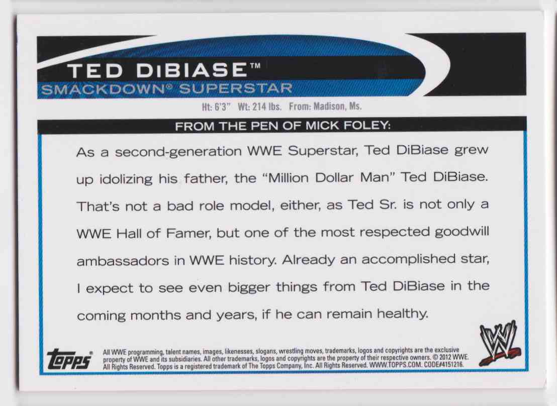 2012 Topps Wwe Smack Down Ted Dibiase card back image