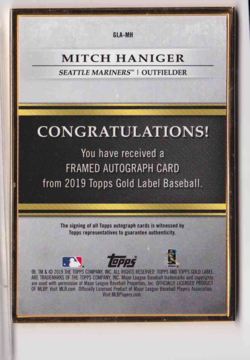 2019 Topps Gold Label Framed Autograph Blue Mitch Haniger #GLA-MH card back image