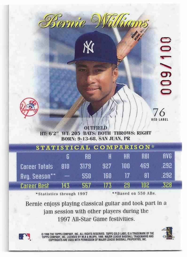 1998 Topps Gold Label Red Bernie Williams #76 card back image
