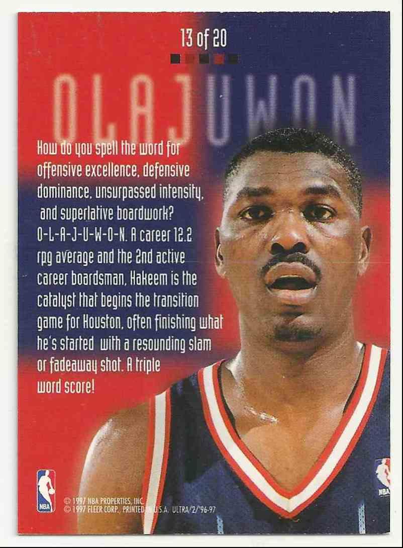 1996-97 Ultra Board Game Hakeem Olajuwon #13 card back image