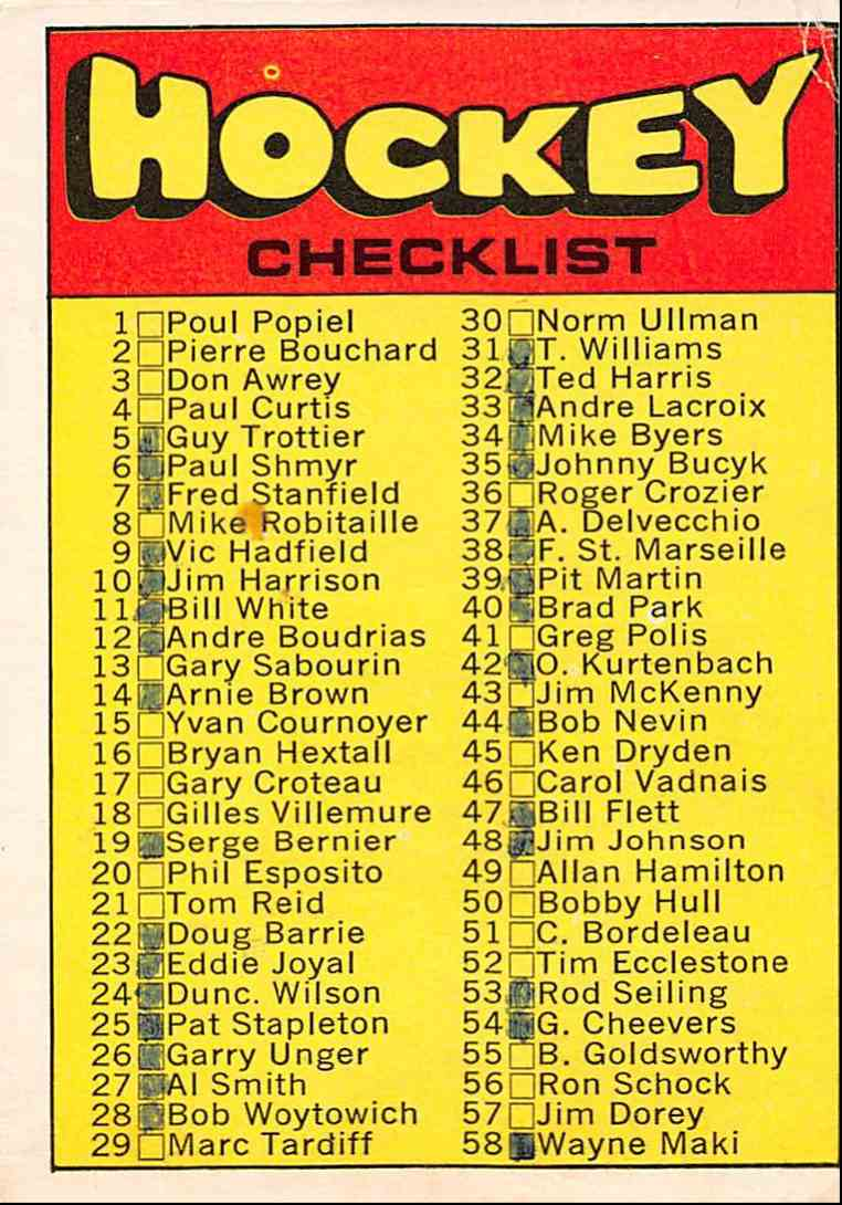1971-72 O-Pee-Chee 1st Series Checklist #111 card front image