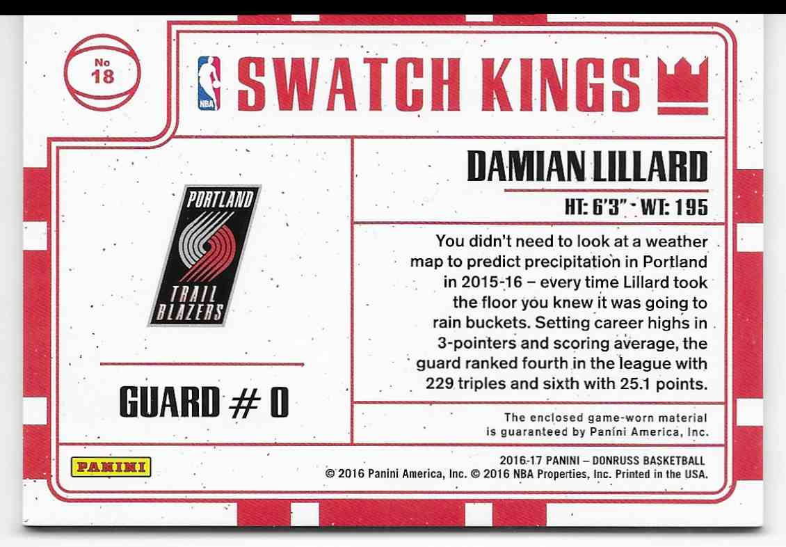 2016-17 Panini Donruss Swatch Kings Jumbo Damian Lillard #18 card back image