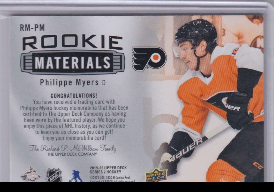 2019-20 Upper Deck Rookie Materials Philippe Myers #RM-PM card back image
