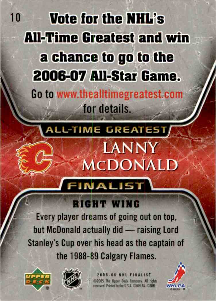 2005-06 Upper Deck All Time Greatest Lanny McDonald #10 card back image