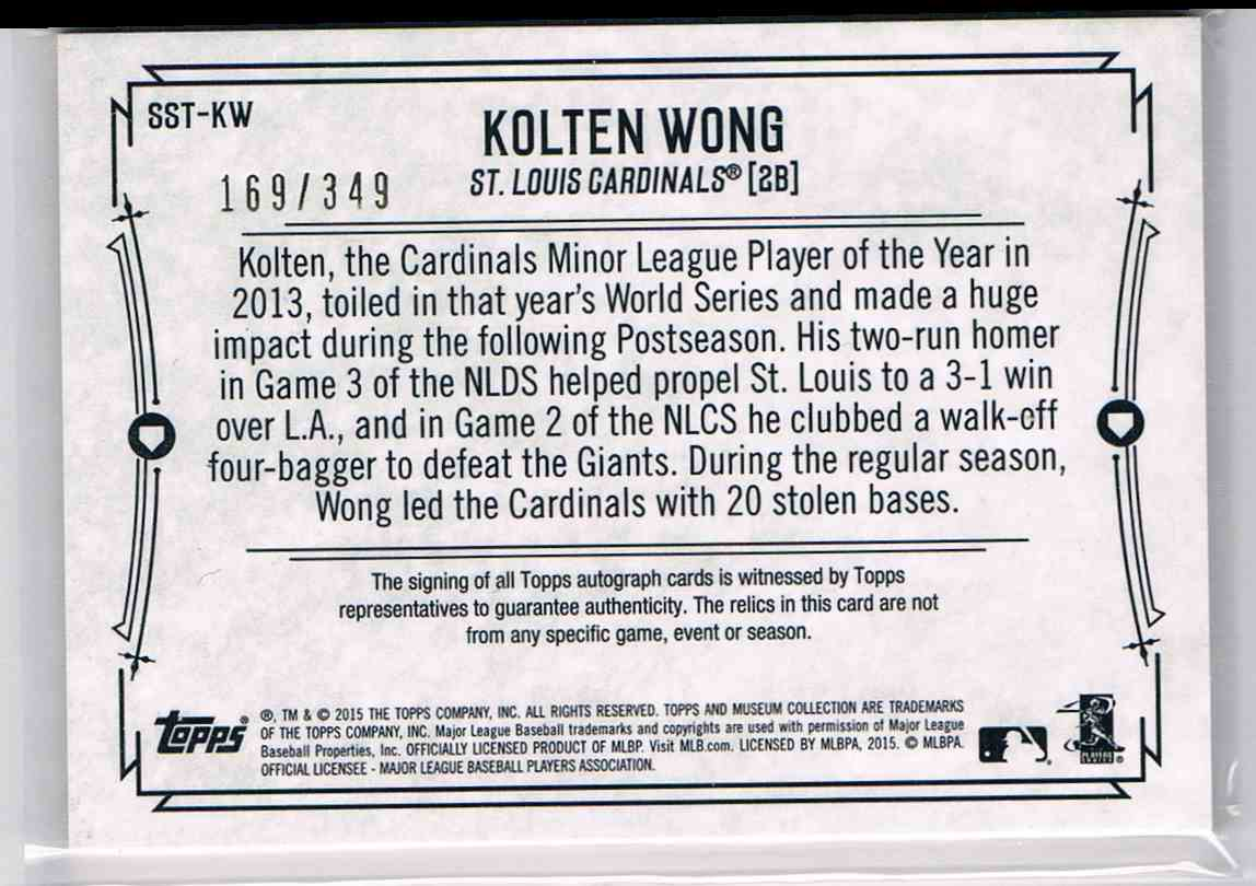 2015 Topps Museum Collection Kolten Wong #SST-KW card back image
