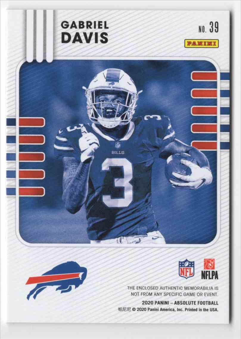 2020 Absolute Absolute Rookie Materials Gabriel Davis #39 card back image