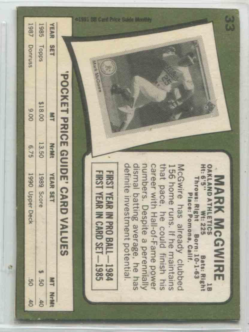 1991 Bb Card Price Guide Monthly Mark Mcgwire 33 On Kronozio