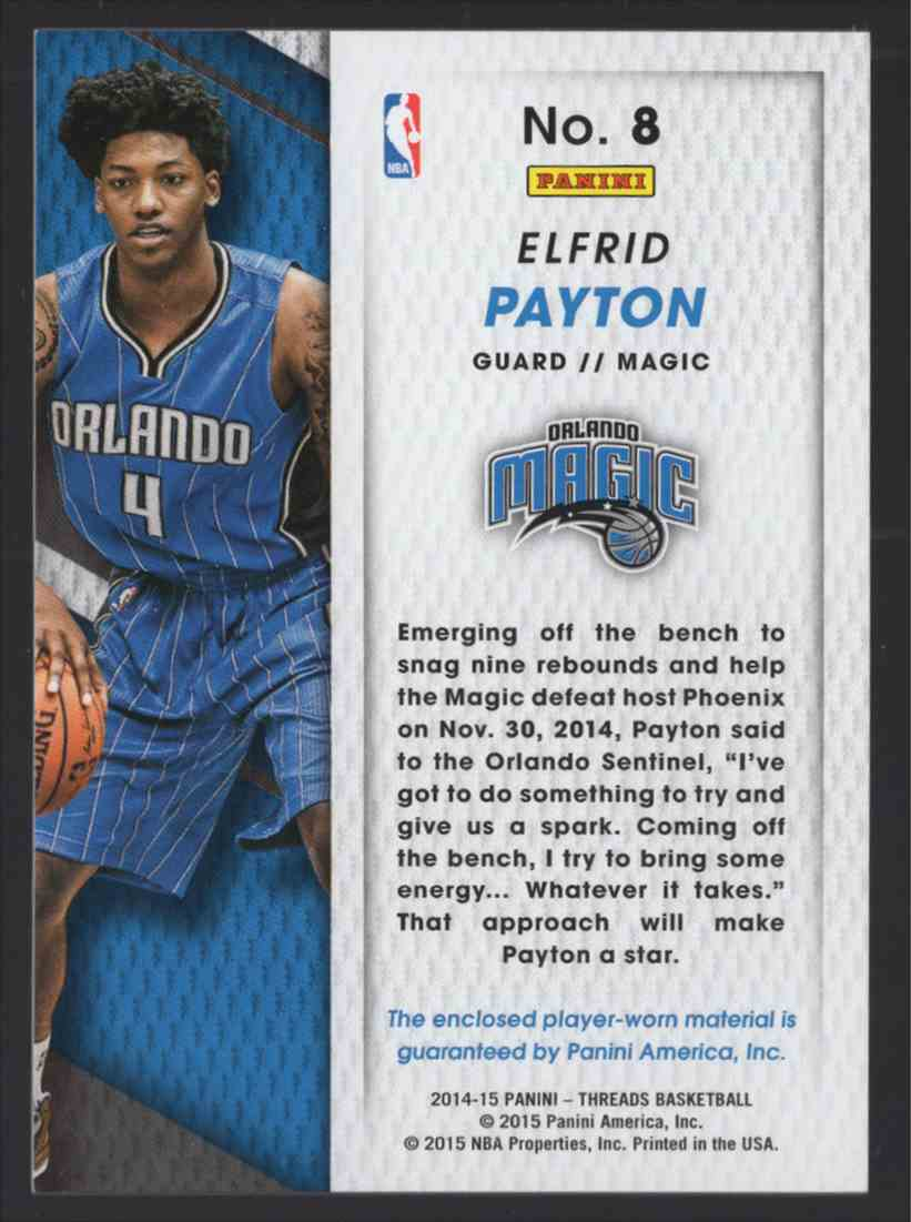 2014-15 Panini Threads Rookie Threads Elfrid Payton #8 card back image