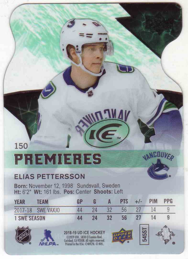 2018-19 Upper Deck Ice Premieres Die Cut Elias Pettersson #150 card back image