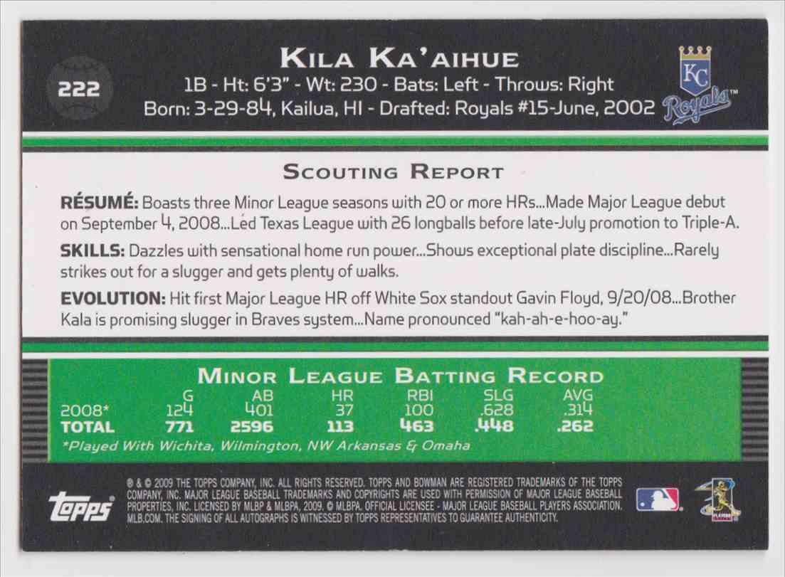 2009 Bowman Autographs Kila Ka'aihue #222 card back image