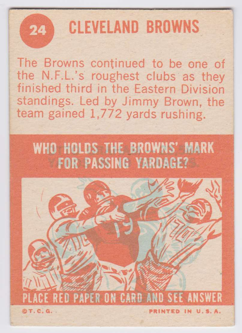 1963 Topps Browns Team #24 card back image