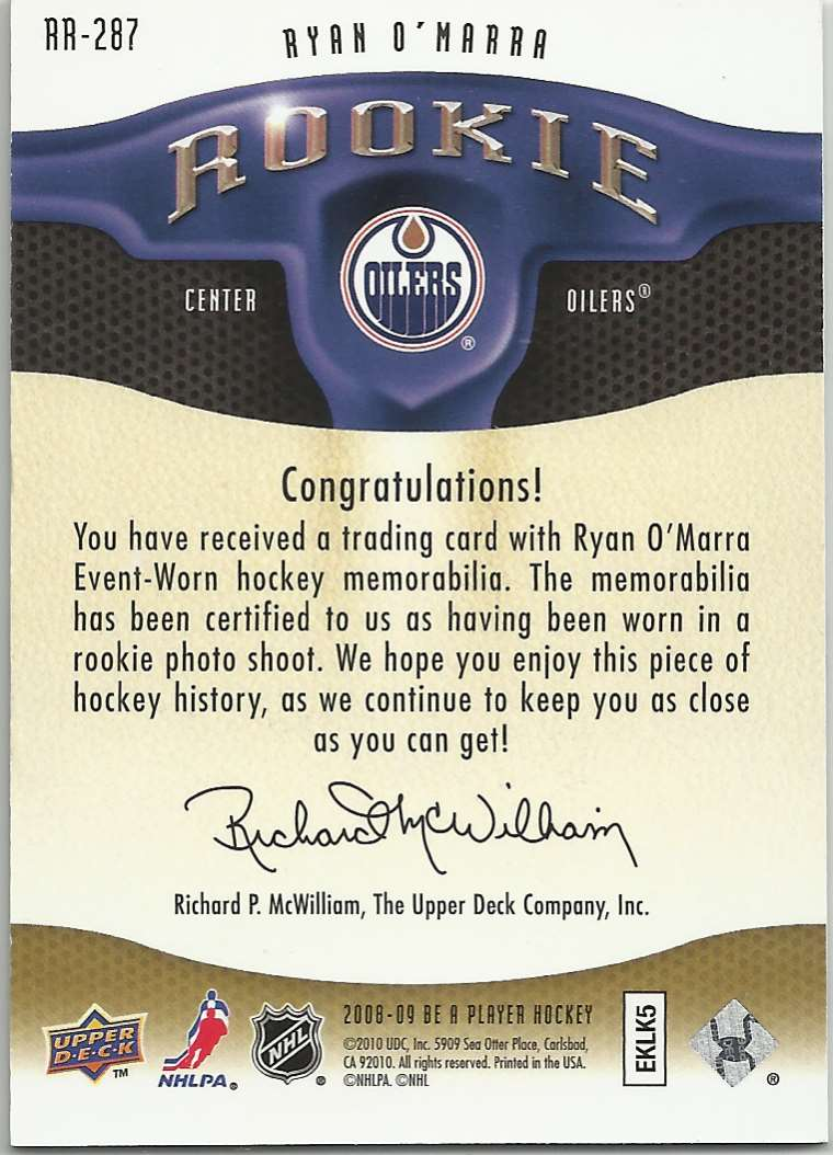 2008-09 Be A Player Rookie Redemption Bonus Ryan O'Marra #RR-287 card back image