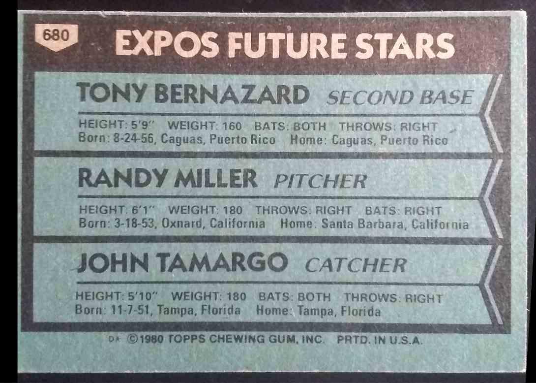 1980 Topps Tony Bernazard Randy Miller John Tamargo #680 card back image