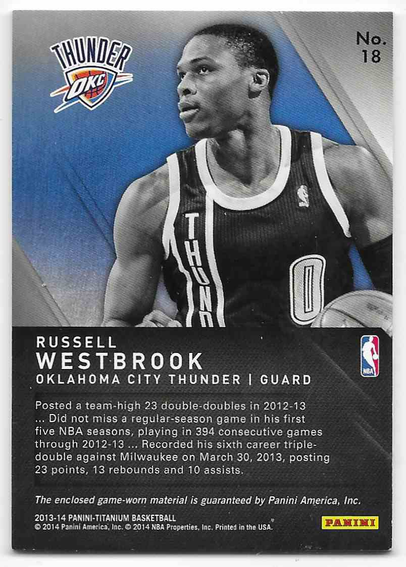 2013-14 Panini Titanium Titanic Threads Jumbo Russell Westbrook #18 card back image