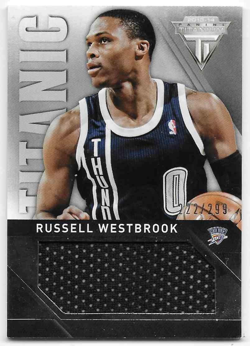 2013-14 Panini Titanium Titanic Threads Jumbo Russell Westbrook #18 card front image
