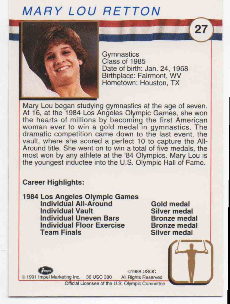 1991 Impel U.S. Olympic Hall Of Fame Mary Lou Retton #27 card back image