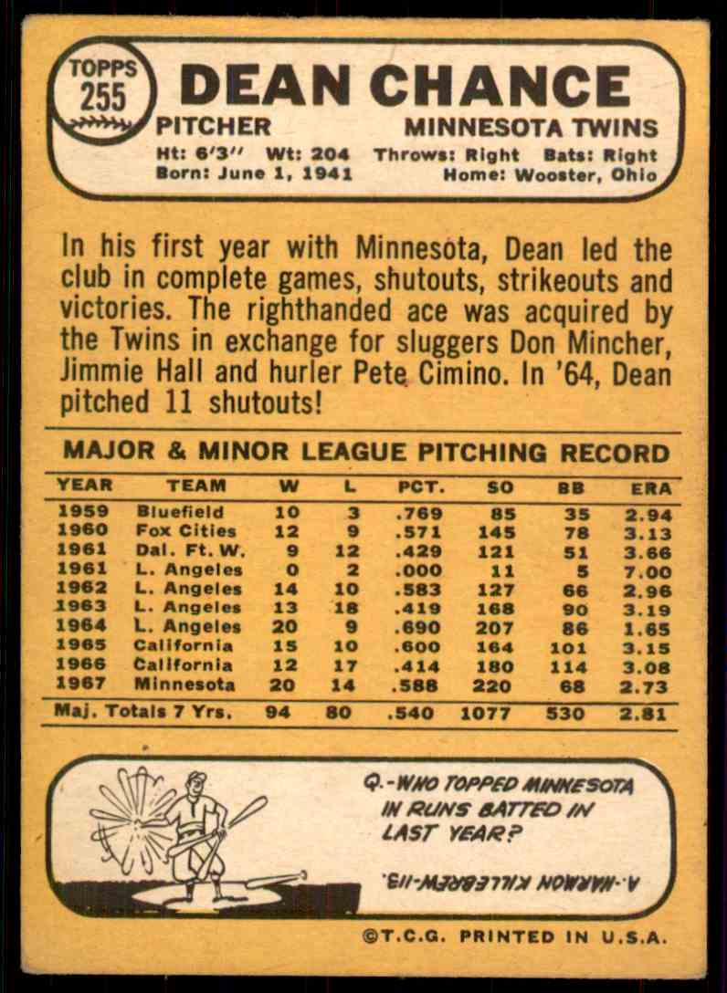 1968 Topps Dean Chance #255 card back image
