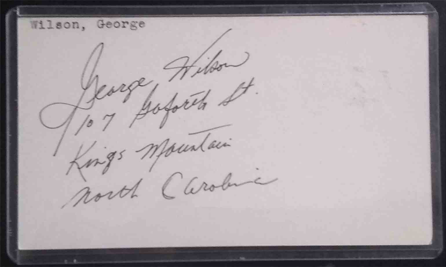 1952 3X5 George Wilson card front image