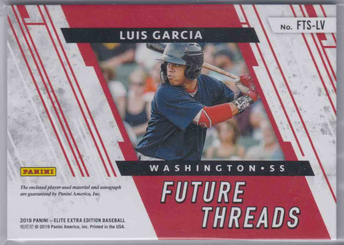 2019 Panini Elite Extra Edition Future Threads Signatures Gold Luis Garcia #FTS-LV card back image