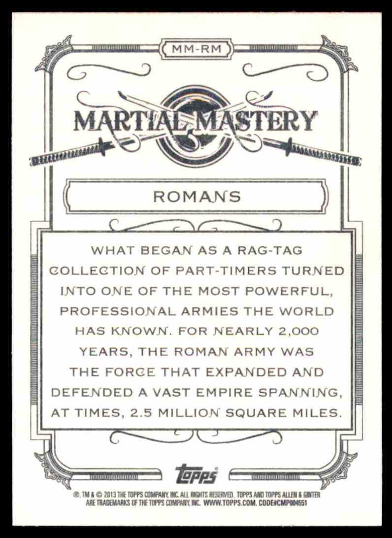 2013 Topps Allen And Ginter Martial Mastery Romans #RM card back image