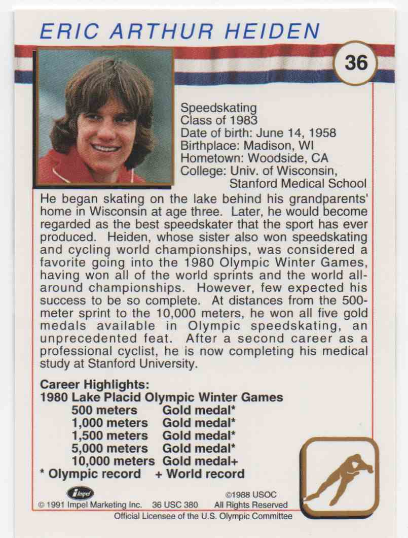 1991 Impel U.S. Olympic Hall Of Fame Eric Heiden #36 card back image