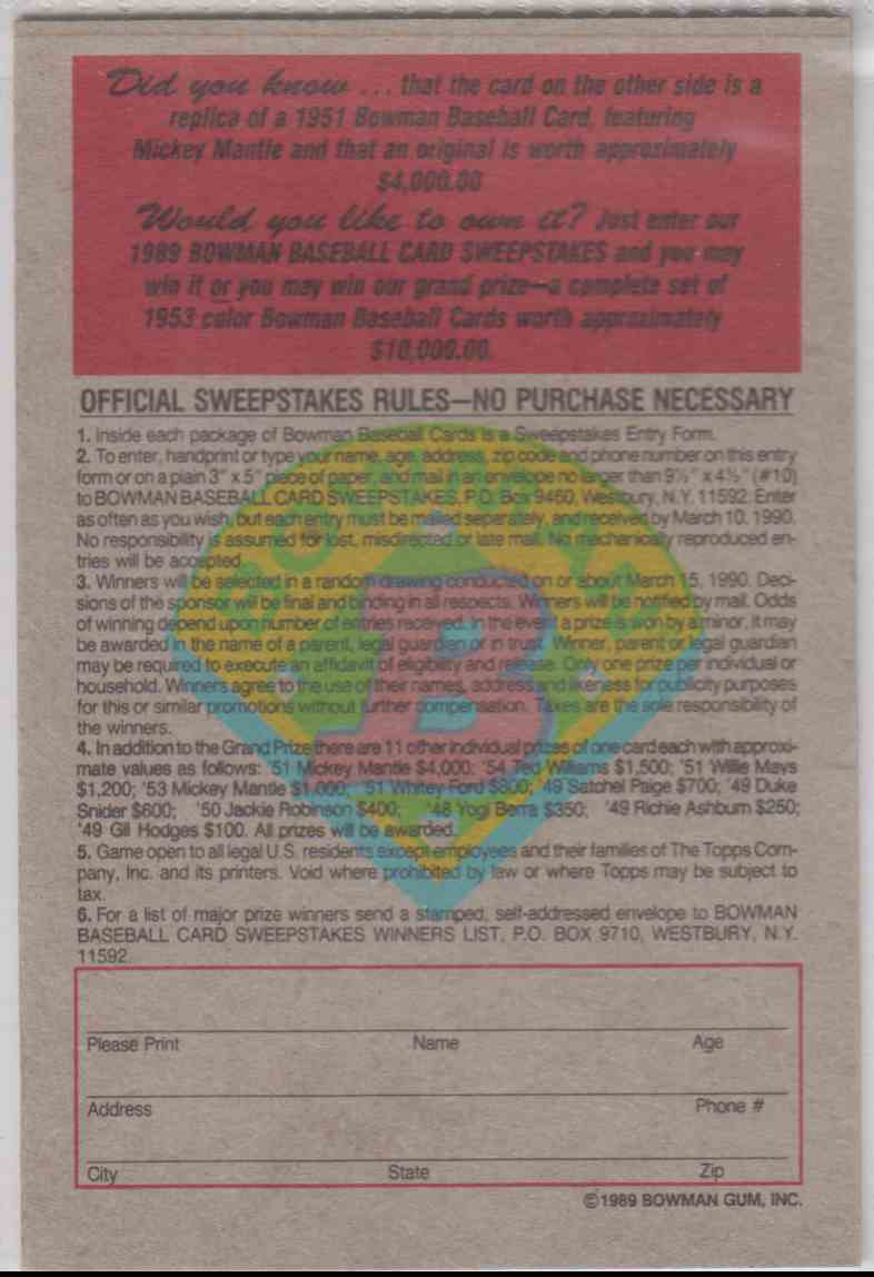 1989 Bowman Reprint Inserts Mickey Mantle #5 card back image