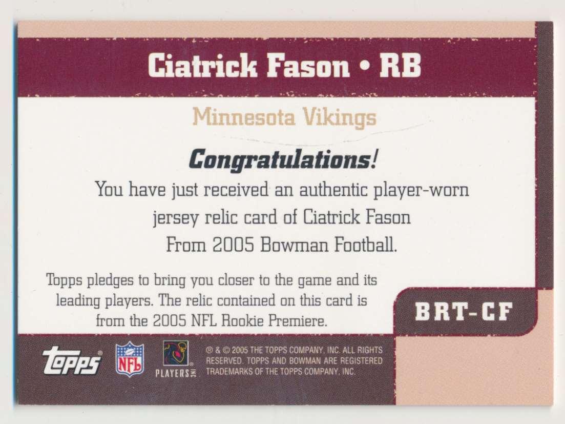 2005 Bowman Throwback Threads Ciatrick Fason #BRT-CF card back image