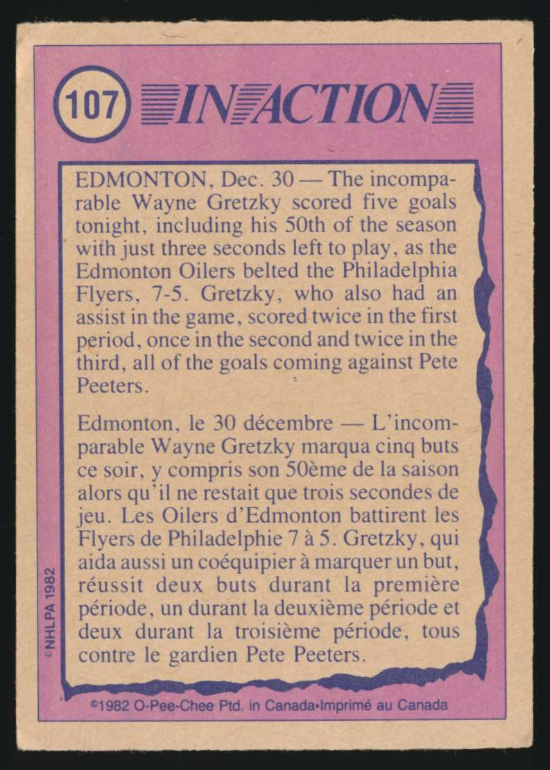 1982-83 OPC Wayne Gretzky In Action #107 card back image