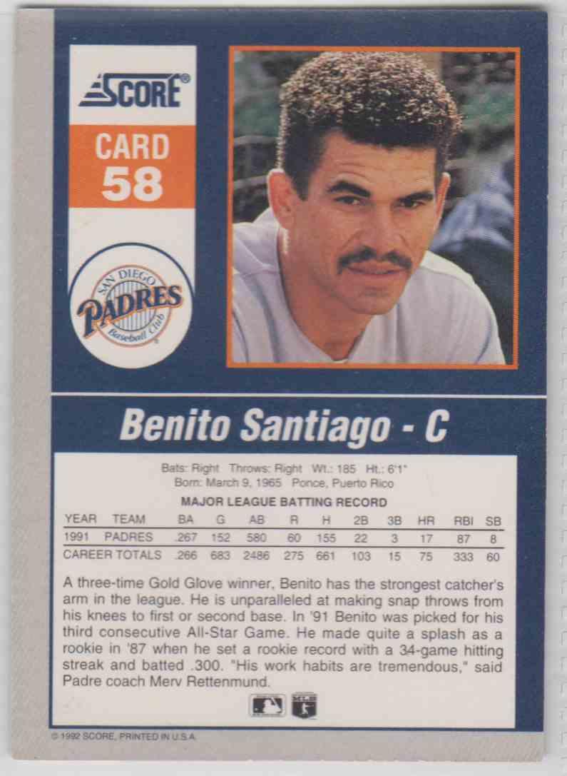 1992 Score Impact Player Benito Santiago #58 card back image