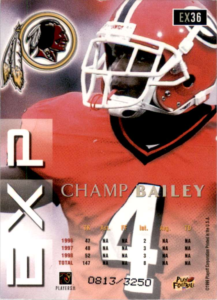 1999 Playoff Prestige Exp Reflections Silver Champ Bailey #EX36 card back image