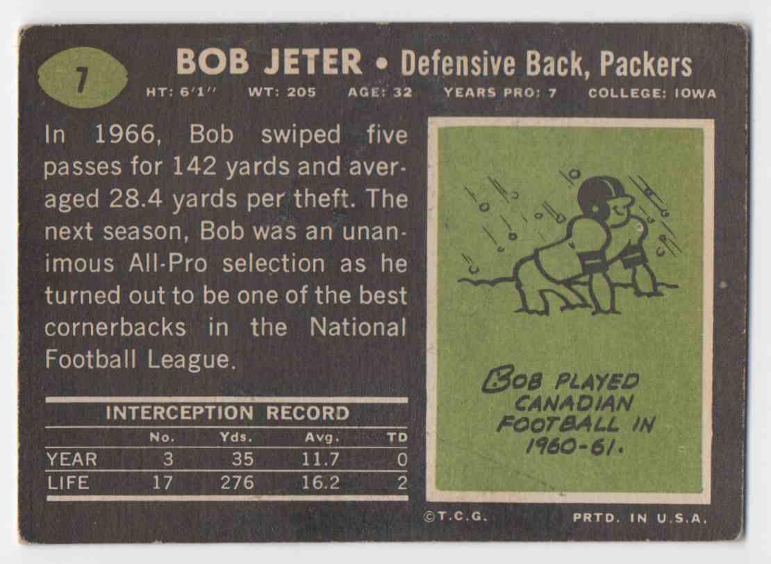 1969 Topps Bob Jeter #7 card back image