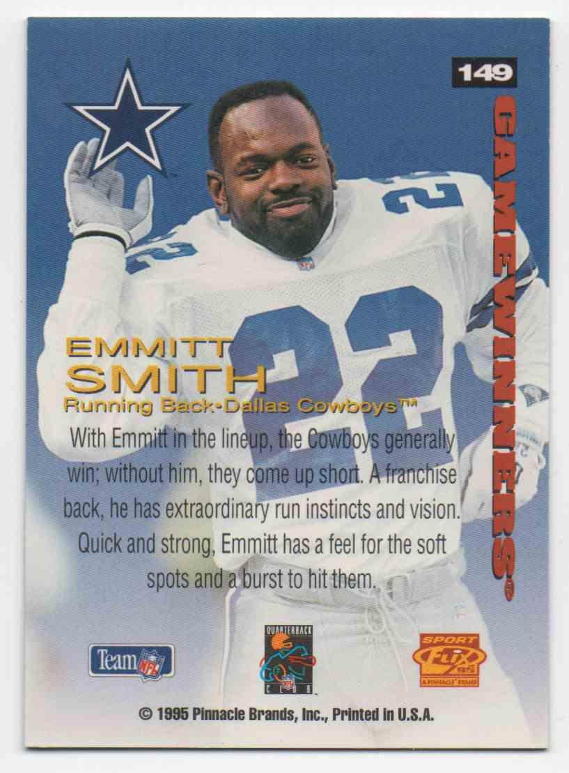 1995 Sportflix Emmitt Smith #149 card back image