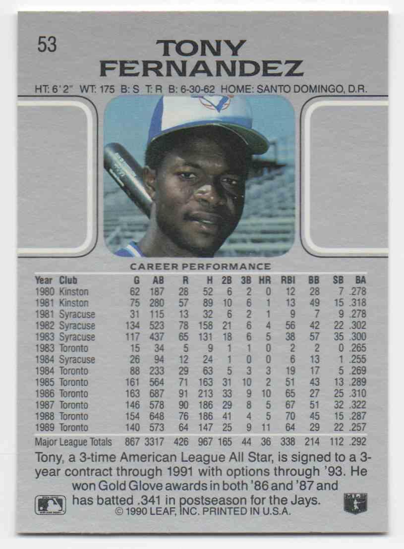 1990 Leaf Tony Fernandez #53 card back image