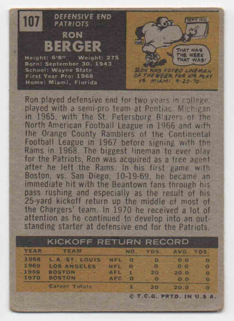 1971 Topps Ron Berger #107 card back image