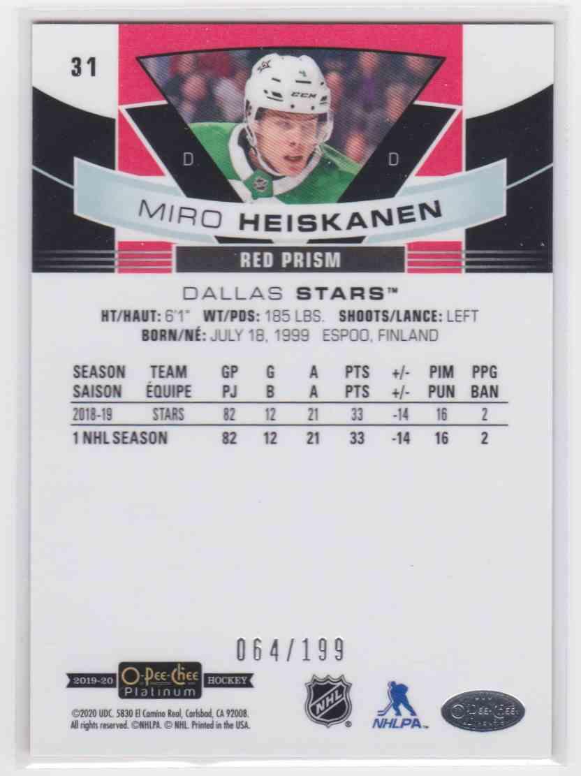 2019-20 Upper Deck Hockey O-Pee-Chee Platinum Miro Heiskanen - Red Prism #31 card back image
