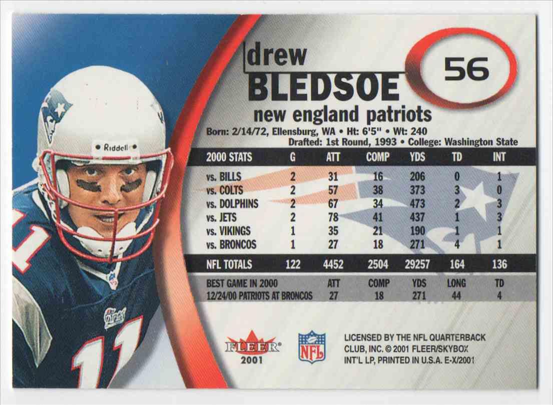 2001 Skybox EX 2001 Drew Bledsoe #56 card back image