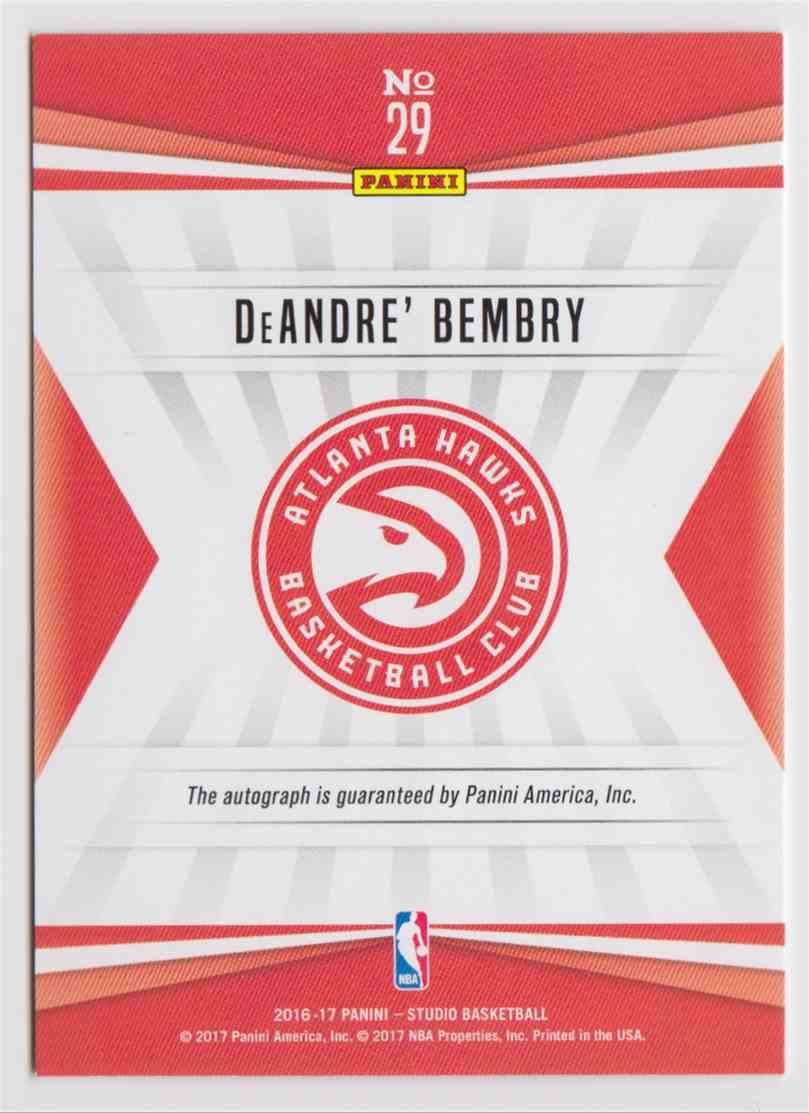 2016-17 Panini Studio Signatures Deandre' Bembry #29 card back image