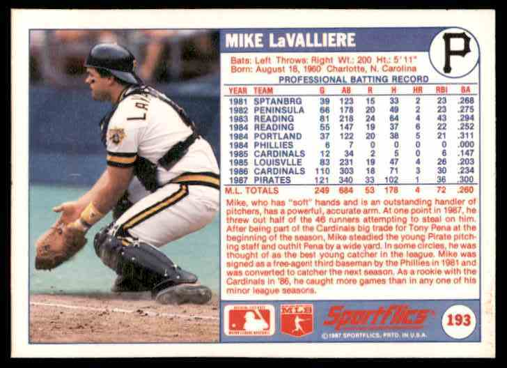 1988 Sportflics Mike LaValliere #193 card back image