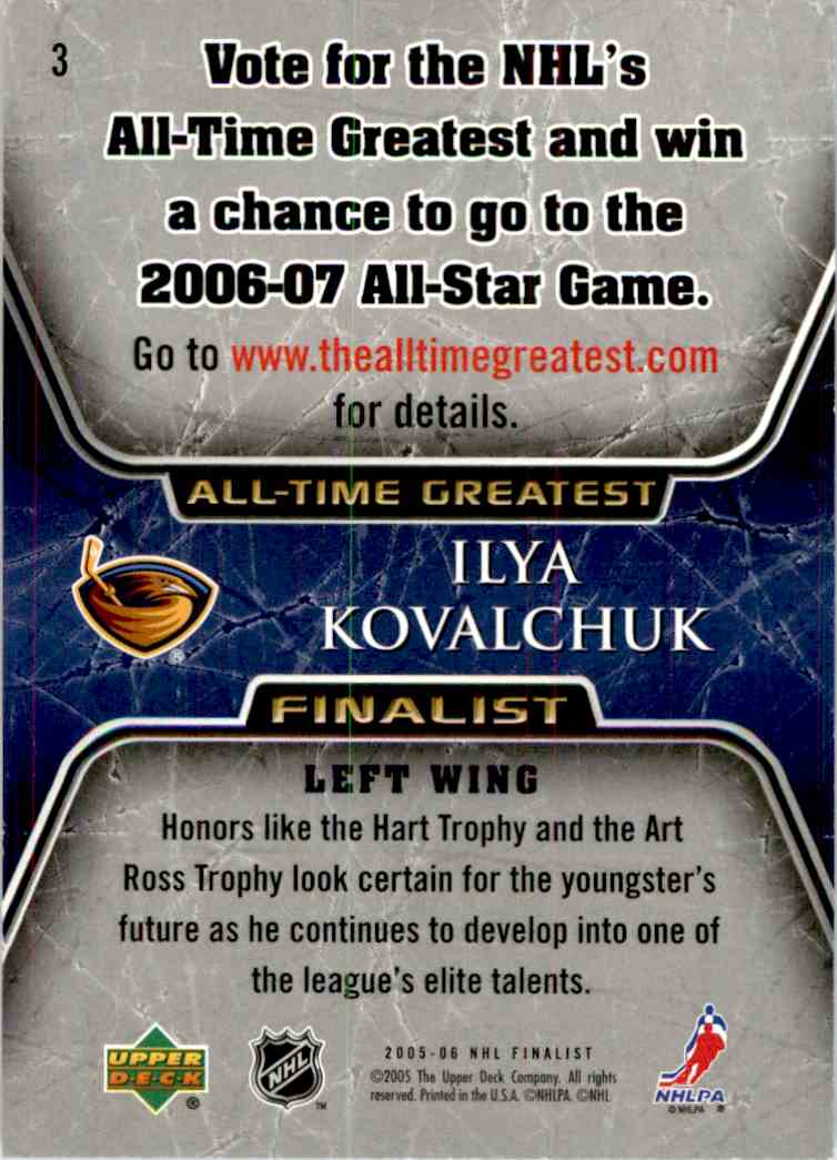 2005-06 Upper Deck All Time Greatest Ilya Kovalchuk #3 card back image