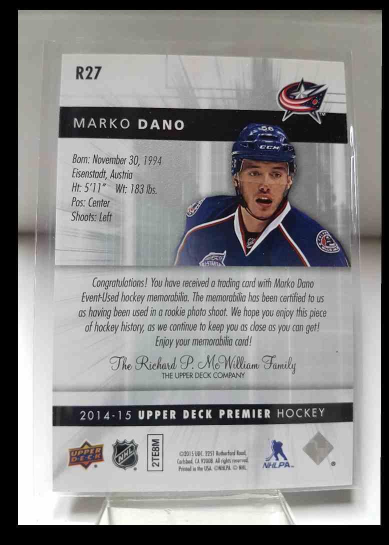 2014-15 Upper Deck Premier Rookies Jerseys Silver Spectrum Marko Dano 064/125 #R27 card back image