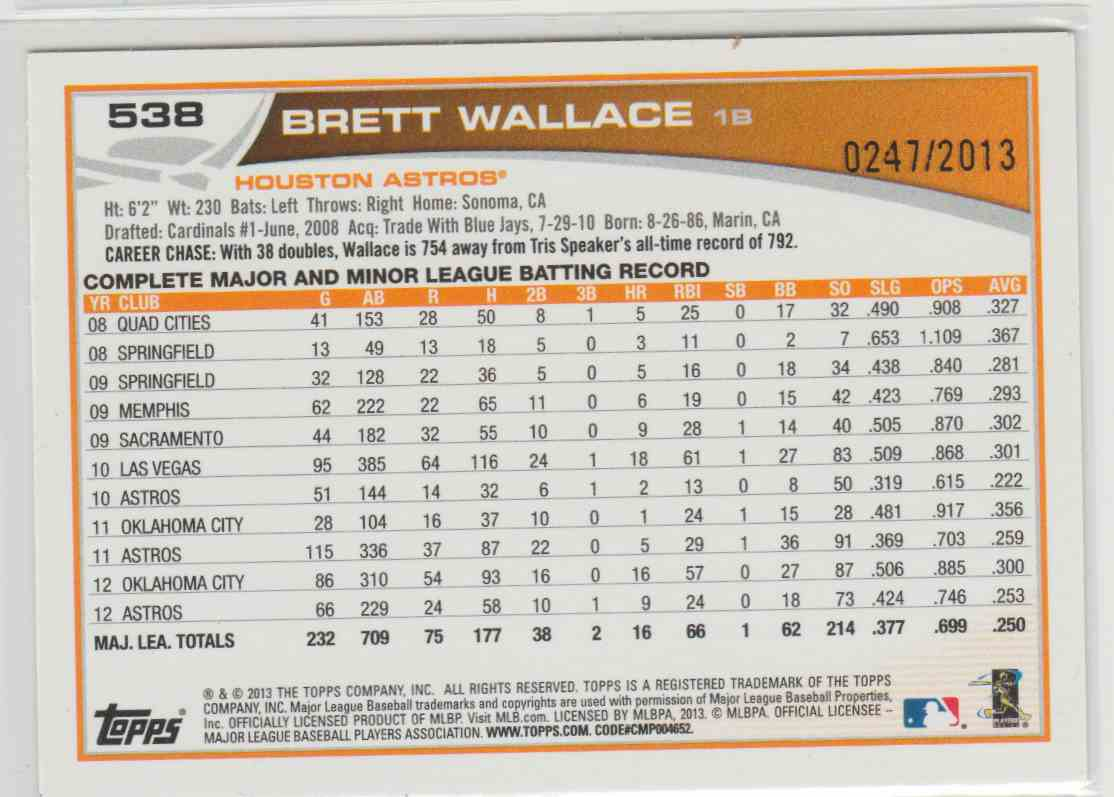 2013 Topps Gold Brett Wallace #538 card back image