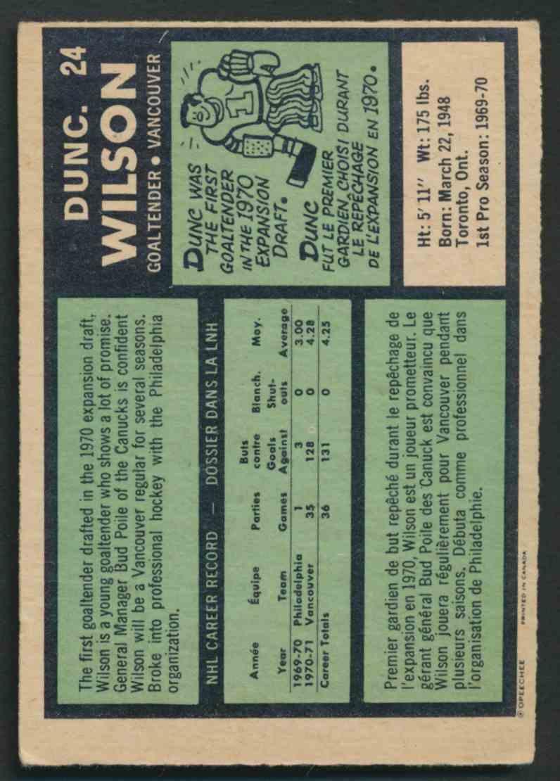 1971-72 O-Pee-Chee Dunc Wilson #24 card back image