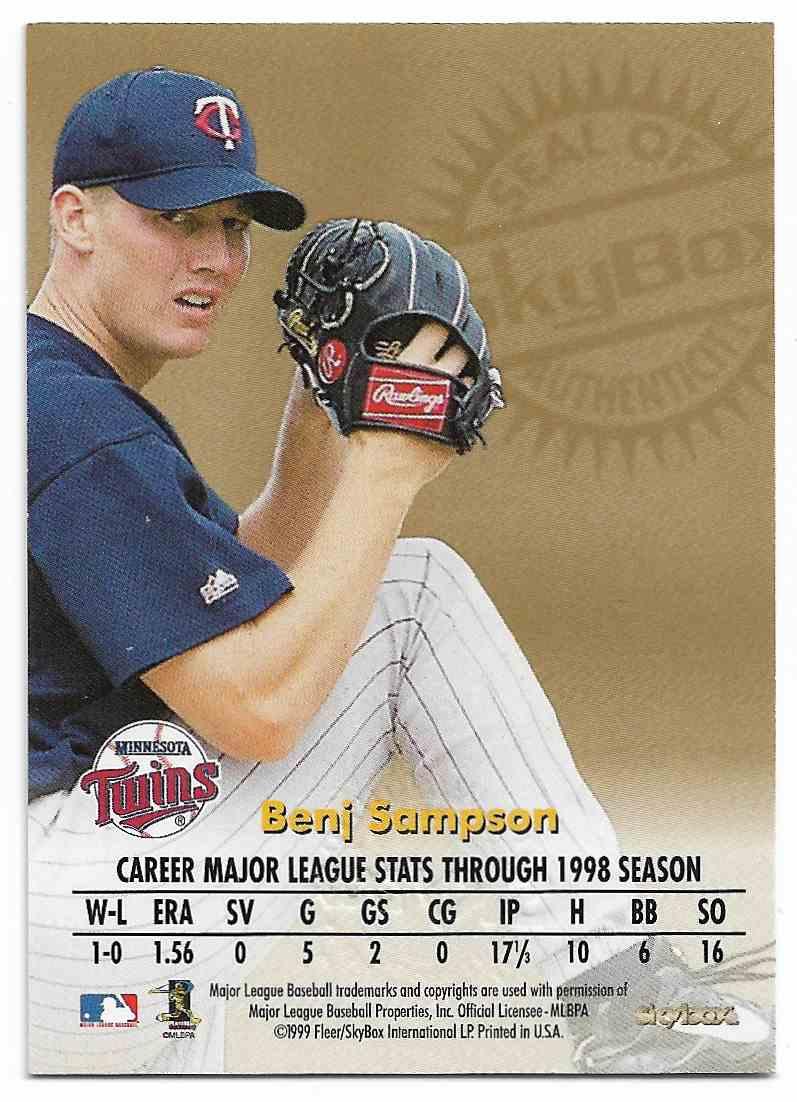 1999 Skybox Premium Benj Sampson #BESA card back image