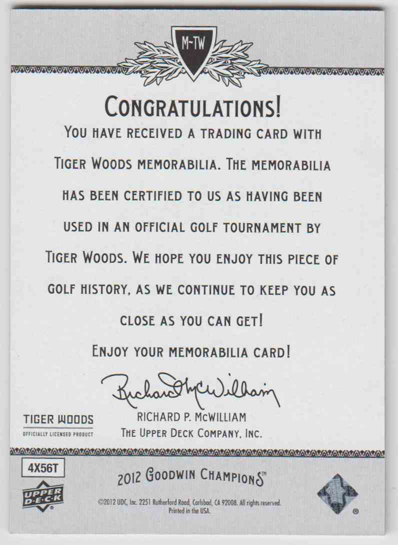 2012 Goodwin Champions Tiger Woods #M-TW card back image