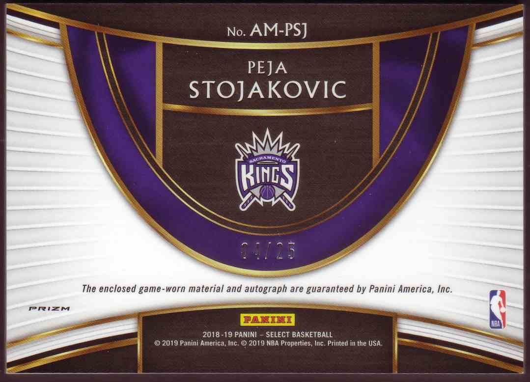 2018-19 Panini Select Autographed Memorabilia Tie-Dye Peja Stojakovic #AM-PSJ card back image