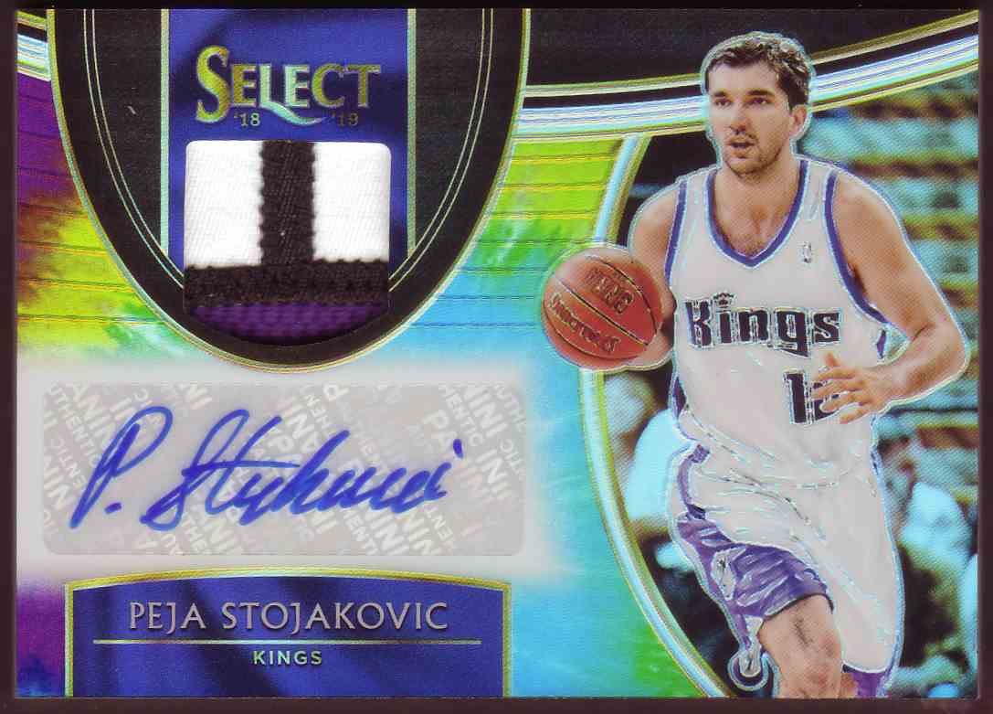 2018-19 Panini Select Autographed Memorabilia Tie-Dye Peja Stojakovic #AM-PSJ card front image