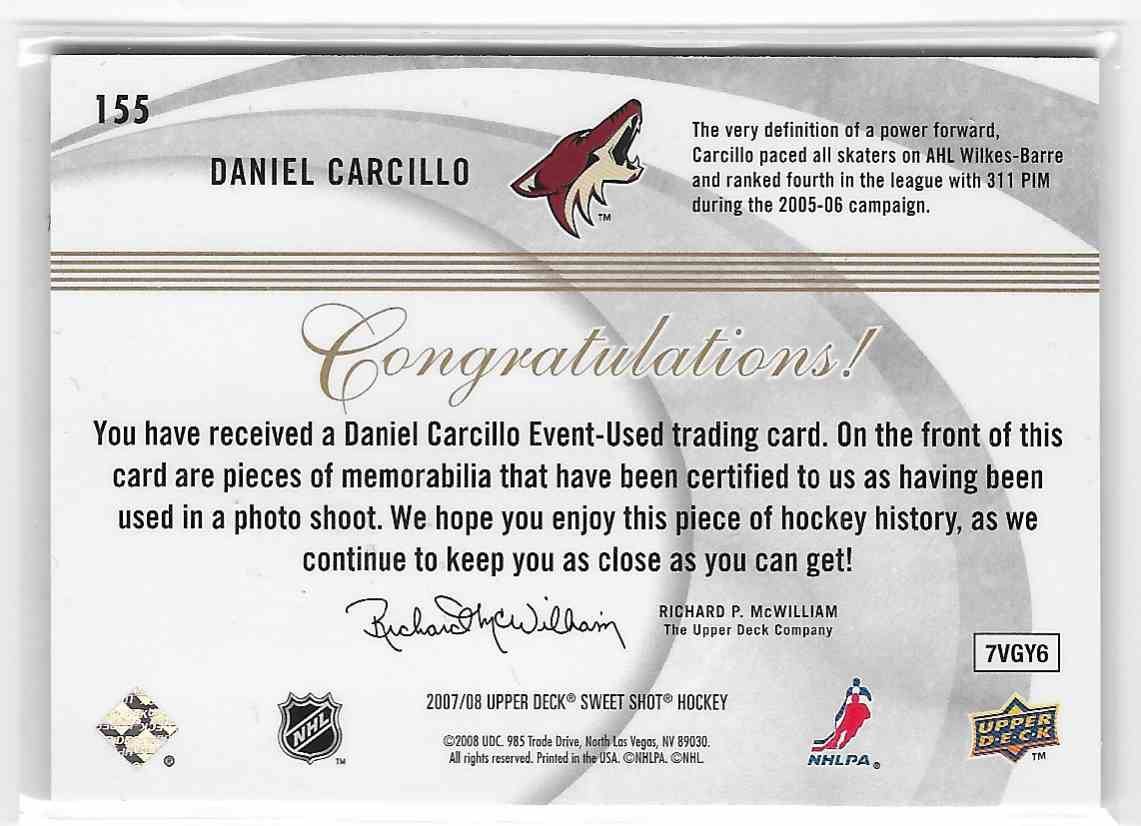 2007-08 Upper Deck Sweet Shot Daniel Carcillo #155 card back image